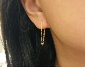 Gold bar earrings gold chain earrings minimalist earrings