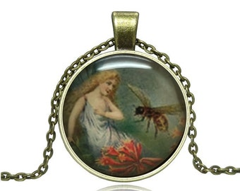 Victorian Lady with Bee Glass Cabochon Pendant Necklace