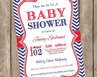 Red and Navy baby shower invitation, red, navy, chevron baby shower invitation, printable invitation