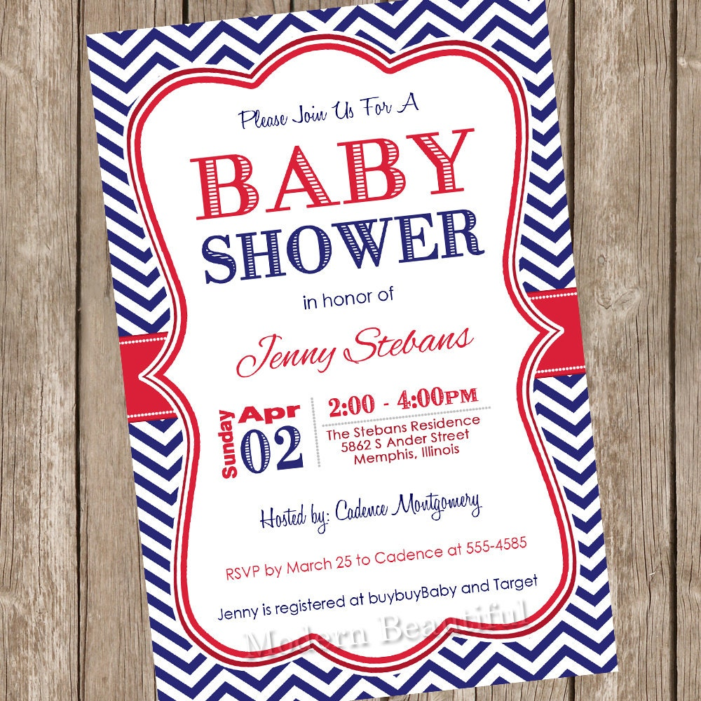 Red and Navy baby shower invitation red navy chevron baby