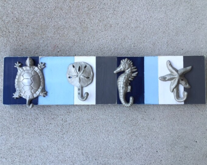 Outer Banks home Blue Grey coat rack stocking holder mudroom bathroom bath towel nautical cabin entry outdoor shower Beach House Dreams OBX