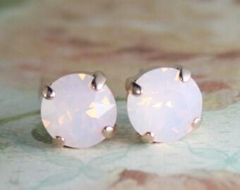 rose gold stud earrings,pink opal crystal earrings,pink crystal earrings,pink stud earrings,rose quartz earrings,swarovski earrings,opal
