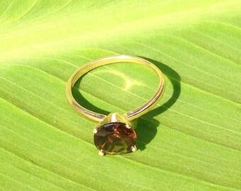 Smoky Quartz Gold Ring, 14k Yellow Gold Ring, Engagement Ring, Wedding Ring, Bridesmaid's Gifts, Promise Ring