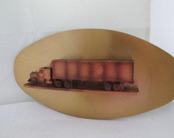 SALE Retro Big Rig Truck Plaque 3D Wall Art Man Cave Decor 18 Wheeler Truck Art Semi Truck Wall plaque Oval Metal Wall Art Metal truck art