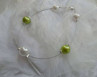 Bridal bracelet white and lime green jewelry wedding 5 beads