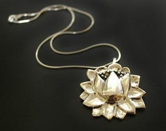 Large Lotus Pendant Necklace