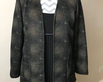 vintage 90s black & gold metallic evening jacket