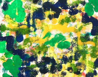 Abstract Painting on Mixed Media Paper