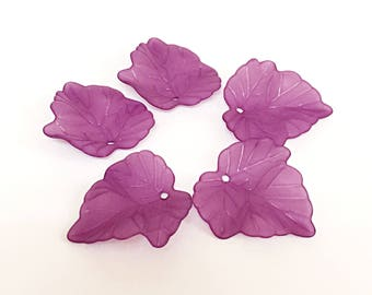 Purple Acrylic Leaves 20 pcs Purple Maple Leaf Charms for bracelets 22mm x 23mm, Lucite Beads Charms Frosted Acrylic Leaves, Acrylic Leaves