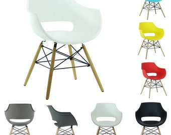 Retro Vintage Modern Designer DSW Plastic Dining Chair Eiffel Armchair Scandi Style - 8 Colours Available