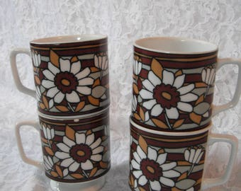 Set of Four Mod Mugs Brown White Floral Stacking Retro Cups Pedestal 60s 70s
