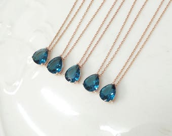 Bridesmaid gifts - Set of 4,5,6 - blue necklace, montana sapphire necklace, deep blue necklace, Gorgeous Drop,stone in bezel