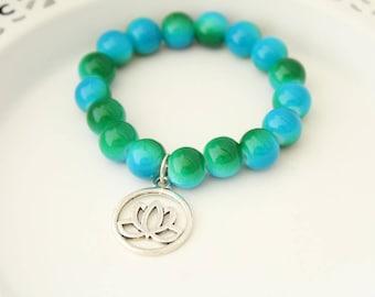 Lotus Bracelet - Stocking Stuffer - Holiday Gift - Christmas Gift - Christmas Present - Gift for Mother - Gift for Grandmother