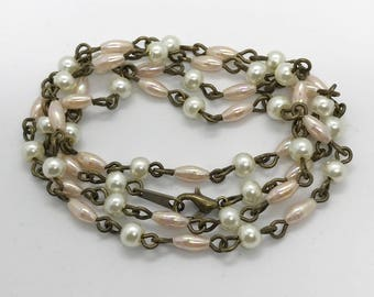 "23"" white and pink pearl necklace"