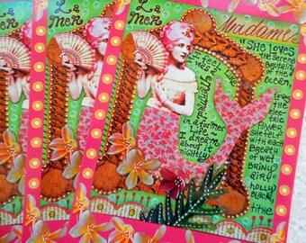 MERMAID Postcards Set of 4 Print from Original Art Journal Page by RememberMeEmily