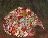 Ground Pangolin X Linocut on Collaged Japanese Papers - Hand-printed image of the scaly mammal