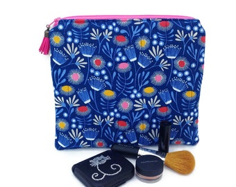Large cosmetic bags, Zipper pouch, Cotton makeup bag, Toiletry bag, Cute cosmetic bags, Vegan purse, Blue purse, Make up organizer