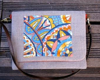Sac-pochette de cérémonie inspiration mosaïque à rabat et bandoulière