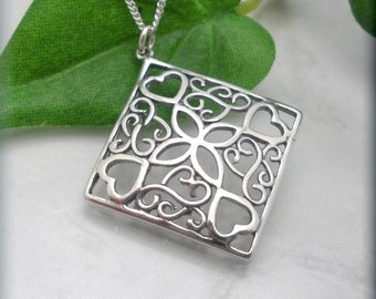 Cornered Hearts Necklace Sterling Silver Celtic Knots Everyday Jewelry Heart Pattern Romantic Sweetheart