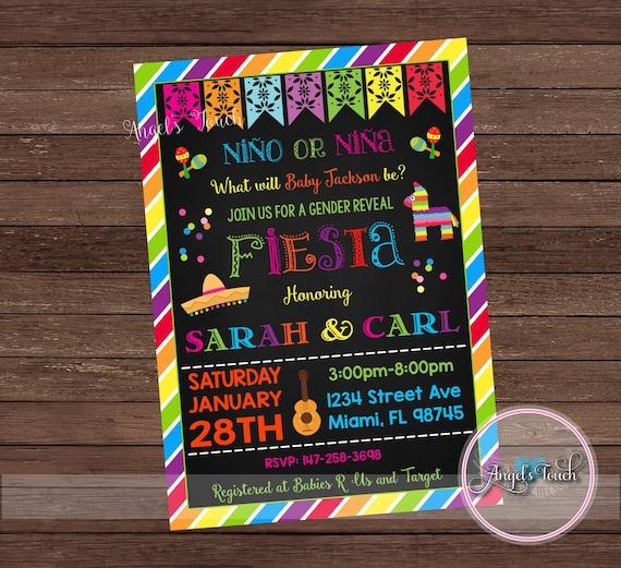 Gender Reveal Invitation Fiesta Gender Reveal Party