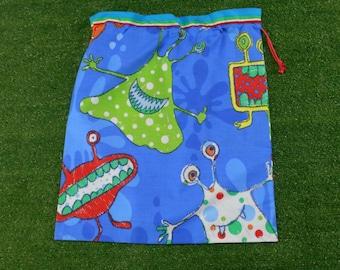Large daycare sheet bag or library bag, monsters large blue drawstring bag