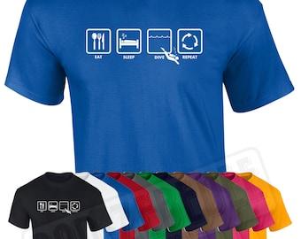 Eat Sleep Dive Repeat T Shirt | Funny Scuba Diving Snorkel Padi Wetsuit Water Gift