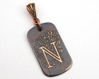 Rectangular N pendant, flat antiqued metal monogram jewelry, optional necklace, 29mm