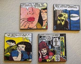 romance comic coaster set retro vintage 1970's true love comic book kitsch