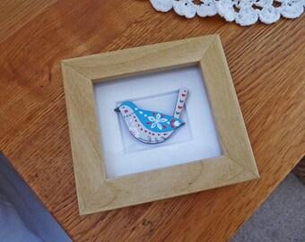 Blue Folk Bird Miniature Box Frame Art