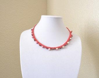 Antique rose crochet statement necklace