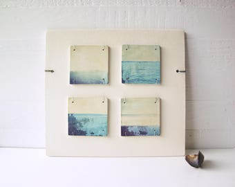 Horizon Abstracts.  Blue.  Polaroid Transfers Printed on Fired Clay.    Horizon Fragments.