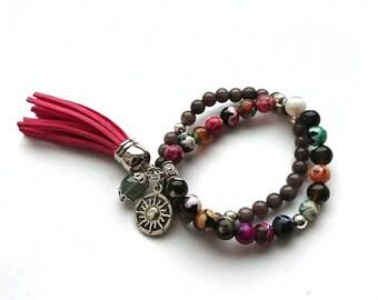 Bracelet Set, Colourfull Agate and Jade stone Gemstone Bracelets
