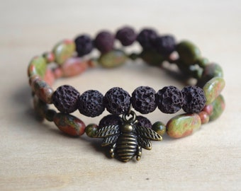 Balance Bracelet / nature lover, save the bees, lava stones, balancing bracelet, insect jewelry women, queen bee, unakite bracelet,third eye