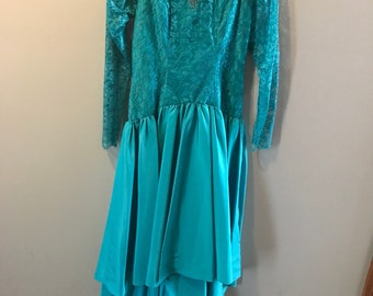 Vintage teal hi low lace and taffeta dress