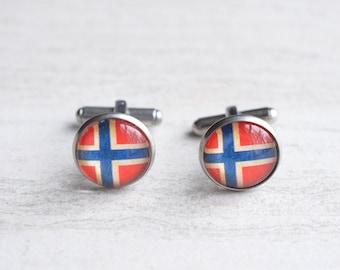 Norway Flag Groomsmen Cuff Links