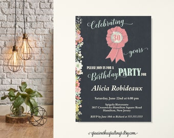 Women's Birthday Party Invite, 30th Birthday Party Invitation, Surprise Birthday Invitation, Classic, Mondern, 40th, 50th, 60th, 70th