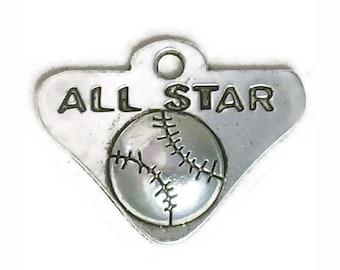 8 Silver All Star Baseball Charm 19x25mm by TIJC SP0986