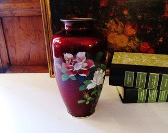 Japanese Craftsman Enamel Vase,Vintage Cloisonne Red Enamel Vase, Oriental Floral Vase, Chinoiserie Vase, Silver Bound Vase
