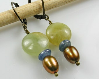 Autumn Jade and Golden Pearl Bronze Earrings
