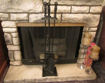 FIREPLACE TOOL SET; vintage Black Wrought Iron iron shovel, broom,  and poker  with stand {FP102}