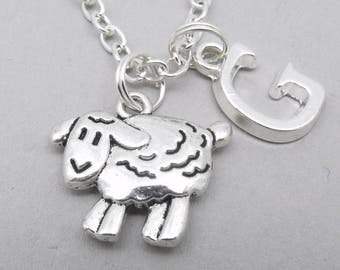 Sheep monogram necklace | sheep charm necklace | sheep pendant | personalised sheep necklace | sheep jewelry | lamb | letter | birthstone