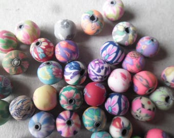 mixed 10 x 8 mm multicolor polymer clay beads