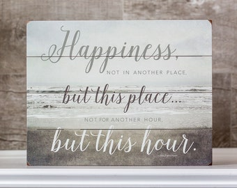"IN STOCK: 11x14"" Motivational Sign on Wood Planks Wood Happiness Sign Beach Decor Inspirational Sign Happiness Quote Art Happy Quotation."
