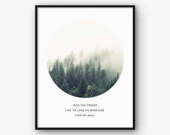Nature Print, Forest Poster, Nature Wall Art, Nature Photography, Quote Print, Scandinavian Wall Decor, Mist Forest Poster, Foggy Forest Art