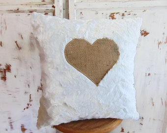 Pillow cover in fake white fur and Burlap, faux white fur by Pleasant Home