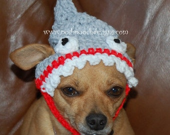 Instant Download Crochet Pattern - Shark Dog Hat - Small Dog beanie