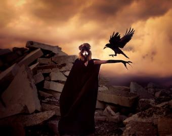 My Friend the Crow - Dark Conceptual Photo - Fine Art Photography - Wall Print