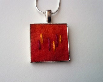 Square Red Felt Pendant with Hand Stitched Design