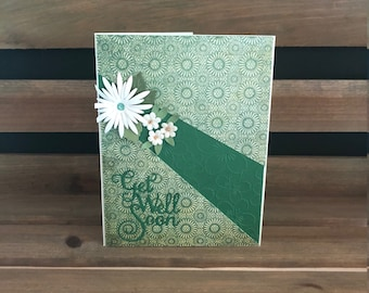 Get Well Card, Lovely Green Patterned Card Stock, Embossed Green Inset, Accented with Die Cut Flowers