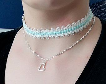 Choker 2 in 1 with heart pendant necklace